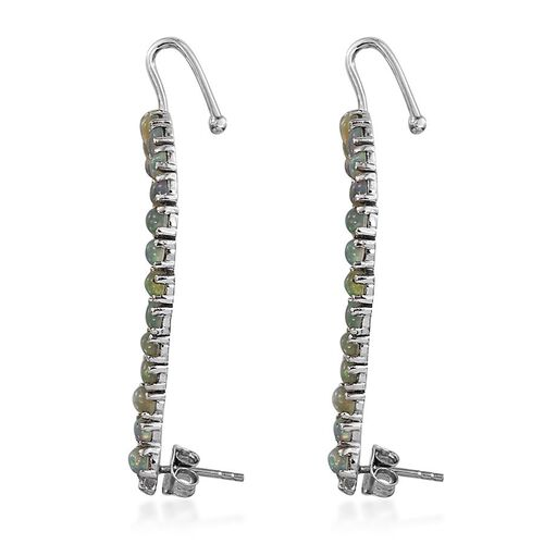 AA Ethiopian Welo Opal (Ovl), Diamond Climber Earrings (with Push Back) in Platinum Overlay Sterling Silver 3.760 Ct.
