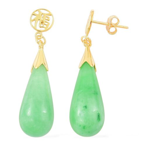 Green Jade Drop Earrings (with Push Back) in Yellow Gold Overlay Sterling Silver 25.400 Ct.
