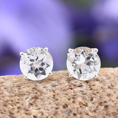 White Topaz (Rnd) Stud Earrings (with Push Back) in Sterling Silver 3.000 Ct.