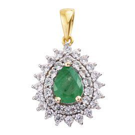 9K Yellow Gold AAA Boyaca Colombian Emerald (Pear 1.00 Ct), Natural Cambodian Zircon Pendant 2.000 Ct.
