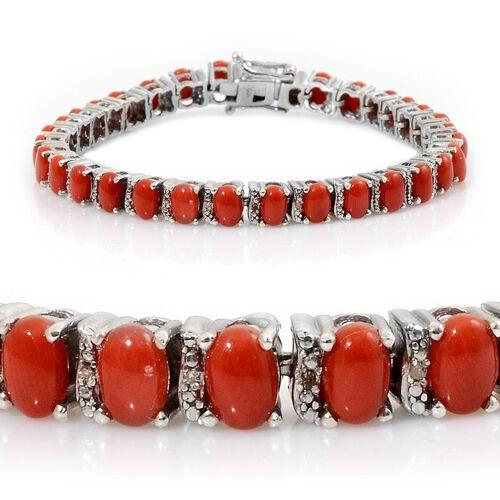 Natural Mediterranean Coral (Ovl), Diamond Bracelet (Size 7.5) in Platinum Overlay Sterling Silver 16.020 Ct.