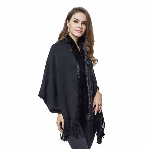 Designer Inspired-Black Colour Faux Fur Wrap with Tassels (Size 170X65 Cm)