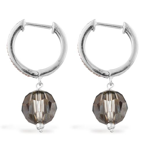 J Francis Crystal from Swarovski - Bronze Colour Crystal (Rnd), Natural Champagne Diamond Hoop Earrings in Rhodium and Rose Gold Plated Sterling Silver