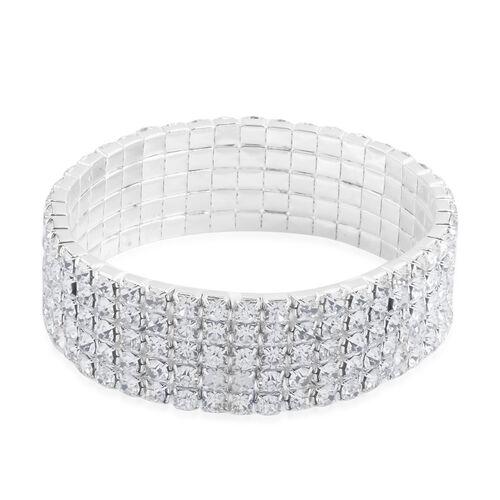 Austrian Crystal Stretchable Bracelet (Size 7.5) in Silver Bond
