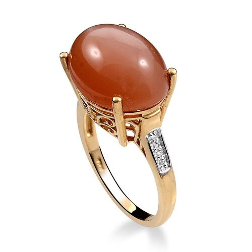 Mitiyagoda Peach Moonstone (Ovl 10.00 Ct), Diamond Ring in 14K Gold Overlay Sterling Silver 10.050 Ct.