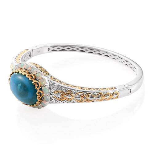 Natural Rare Opalina (Ovl 15.13 Ct), Ethiopian Welo Opal Bangle (Size 7.5) in Platinum and Yellow Gold Overlay Sterling Silver 17.130 Ct.
