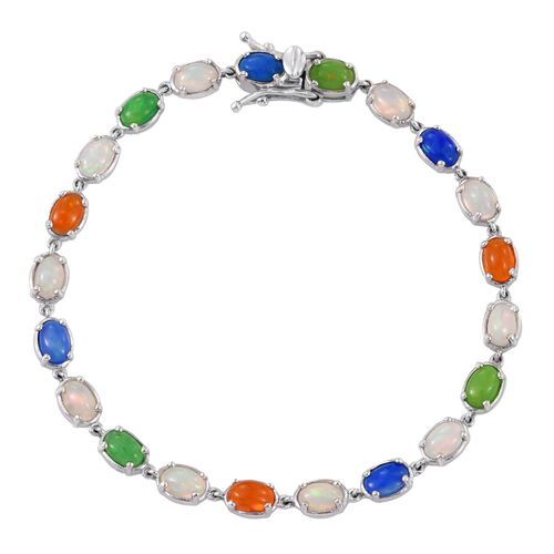 Ethiopian Welo Opal (Ovl), Orange, Green and Blue Ethiopian Opal Bracelet (Size 7.5) in Platinum Overlay Sterling Silver 6.250 Ct.