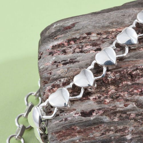 Sterling Silver Heart Link Bracelet (Size 7.5 with 1 inch Extender), Silver wt 5.60 Gms.