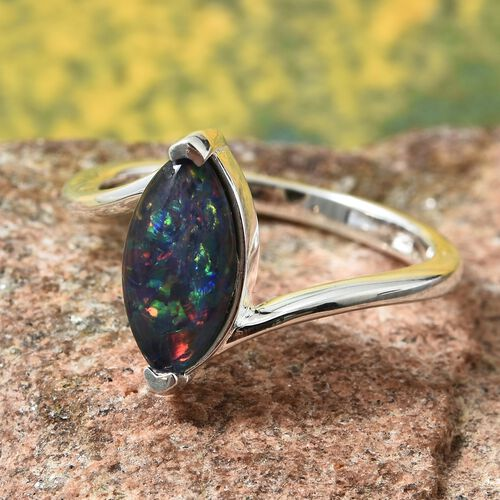 Rare Shape Australian Boulder Opal (Mrq 12X6 mm) Solitaire Ring in Sterling Silver 1.250 Ct.