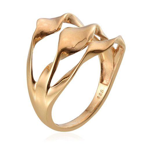 Designer Inspired 14K Gold Overlay Sterling Silver Swirl Ring, Silver wt 4.00 Gms.