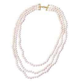ILIANA 18K Yellow Gold AAA Japanese Akoya Pearl (Rnd 5-6mm) Triple Strand Necklace (Size 22)