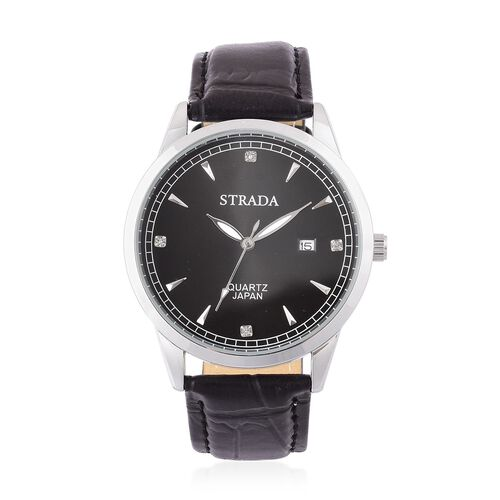 STRADA Japanese Movement White Austrian Crystal Studded Dial Watch in Silver Tone with Stainless Steel Back and Black Strap