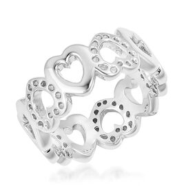 RACHEL GALLEY Rhodium Plated Sterling Silver Continual Heart Ring, Silver wt 4.29 Gms.