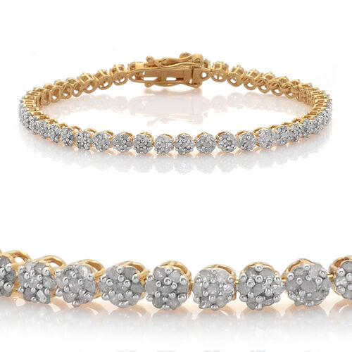 Diamond (Rnd) Bracelet (Size 8) in 14K Gold Overlay Sterling Silver 2.000 Ct.
