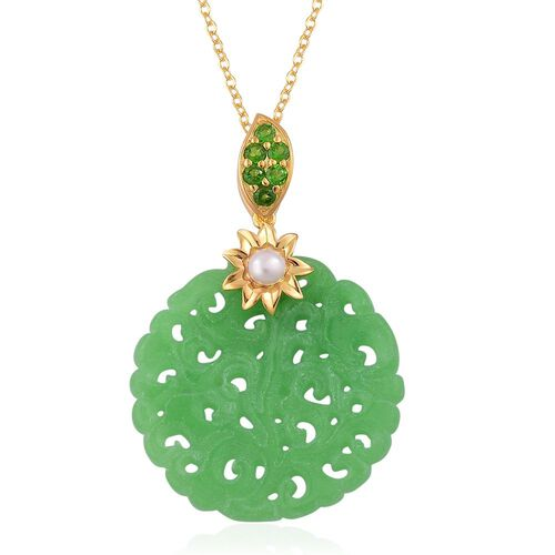 Limited Edition - Rare Hand Carved Green Jade (Rnd), Fresh Water Pearl and Russian Diopside Pendant With Chain in Yellow Gold Overlay Sterling Silver