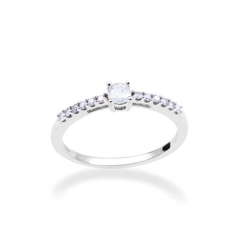 9K White Gold 0.25 Carat Diamond Solitaire Ring I3 G-H SGL Certified.
