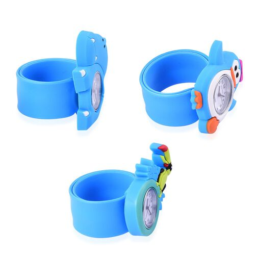 Set of 3 - STRADA Japanese Movement White Dial Water Resistant Penguin, Woodpecker and Hippopotamus Watch with Blue Silicone Strap