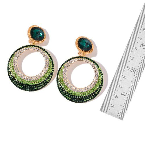 Simulated Emerald, Green and White Austrian Crystal Earrings (with French Clip) in Yellow Gold Tone
