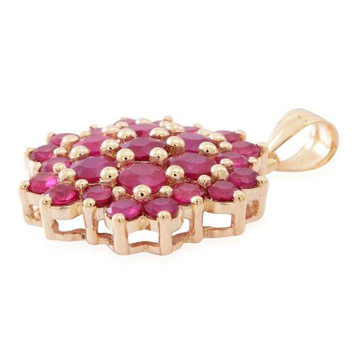 9K Y Gold AA Burmese Ruby (Rnd) Floral Pendant 3.150 Ct.