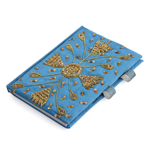 Hand Crafted Embellished Zari Work Denim Blue and Brown Colour Notebook with Pen Set (Size 17.78X12.70 Cm)