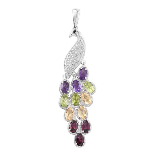 Designer Inspired - Rhodolite Garnet (Ovl), Amethyst, Citrine, Hebei Peridot and Boi Ploi Black Spinel Peacock Pendant in Platinum Bond 5.00 Ct.