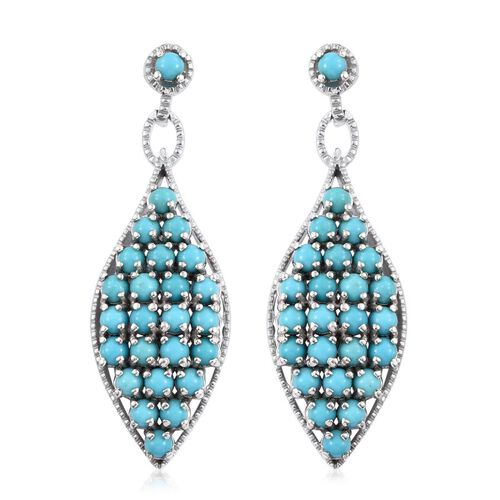 Arizona Sleeping Beauty Turquoise (Rnd) Earrings (with Push Back) in Platinum Overlay Sterling Silver 4.750 Ct.