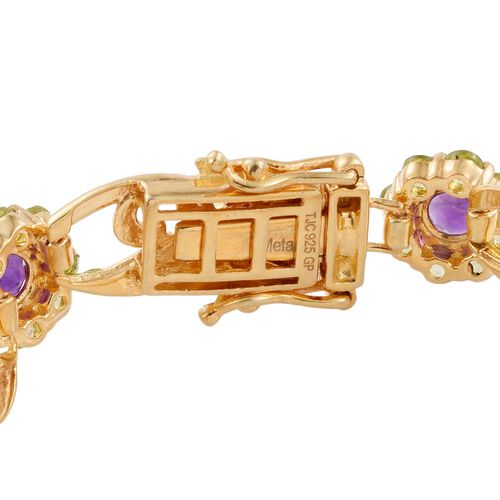 GP Amethyst (Rnd), Hebei Peridot and Kanchanaburi Blue Sapphire Floral and Leaves Bracelet (Size 7.25) in 14K Gold Overlay Sterling Silver 12.020 Ct.