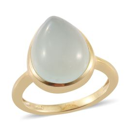 Aqua Chalcedony 8 Carat Silver Solitaire Ring in Gold Overlay