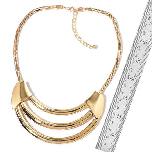 Triple Row BIB Necklace (Size 20) in Yellow Gold Tone