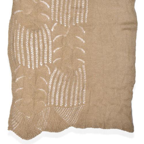 Lace Design Khaki Colour Knitted Scarf (Size 180x60 Cm)