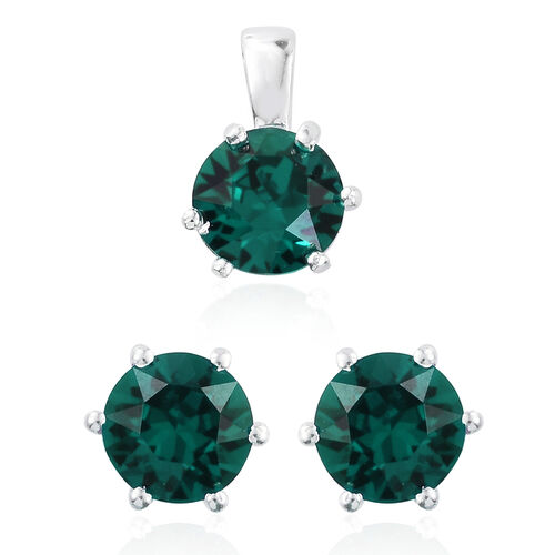 J Francis Crystal from Swarovski - Mutuca Indicolite Colour Crystal (Rnd) Solitaire Pendant and Stud Earrings (with Push Back) in Sterling Silver