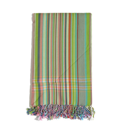 100% Cotton (Front) and 100% Polyester (Back) Green and Multi Colour Stripe Pattern Kikoy Beach Towel (Size 160x90 Cm) with a Concealed Pocket