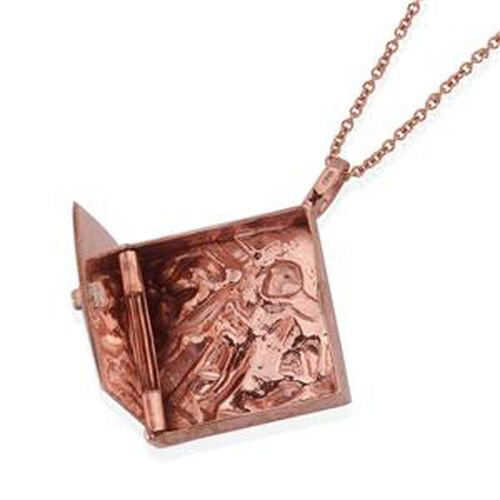 Textured Relic Pendant With Chain in Rose Gold Tone