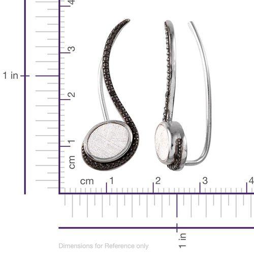 Meteorite (Ovl), Black Diamond Climber Earrings in Platinum Overlay Sterling Silver 9.530 Ct.