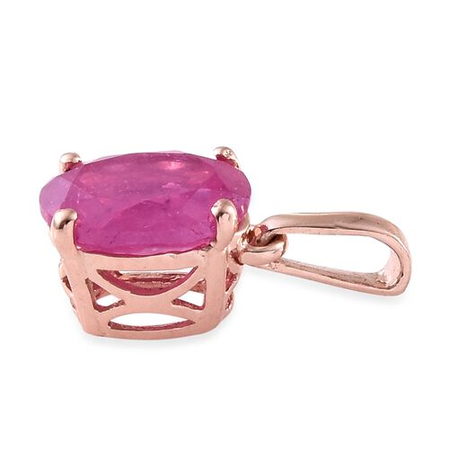 Super Auction- Rare Size Madagascar Hot Pink Sapphire (Ovl) Solitaire Pendant in Rose Gold Overlay Sterling Silver 2.500 Ct.