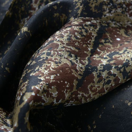 100% Mulberry Silk Black and Chocolate Colour Scarf (Size 180x100 Cm)