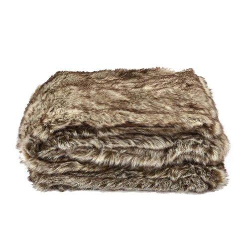 Signature Collection - Heavy Weight Wolf Faux Fur Blanket (Size 200X150 Cm)