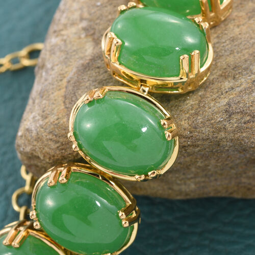 Green Jade (Ovl) Bracelet (Size 7.5 with 2 inch Extender) in 14K Gold Overlay Sterling Silver 68.000 Ct.Silver Wt 15.50 Gms