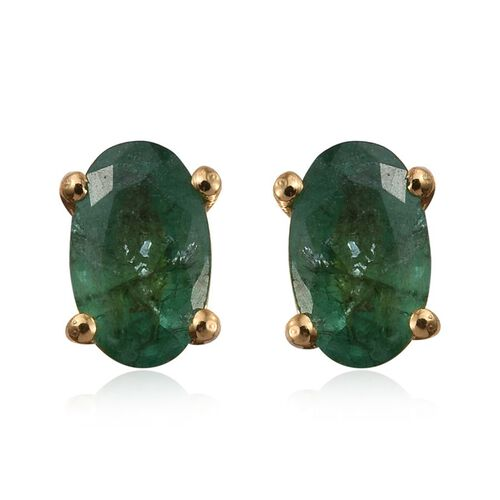 Kagem Zambian Emerald (Ovl) Stud Earrings (with Push Back) in 14K Gold Overlay Sterling Silver 0.500 Ct.