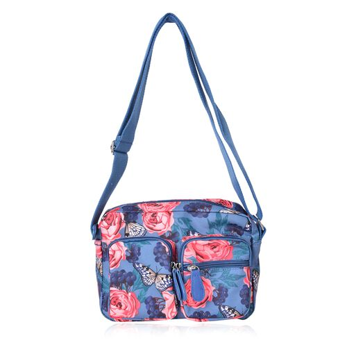 Designer Inspired - Blue, Pink and Multi Colour Butterfly and Floral Pattern Multi Pocket Waterproof Bag with Adjustable Shoulder Strap (Size 24X16.5X8 Cm)