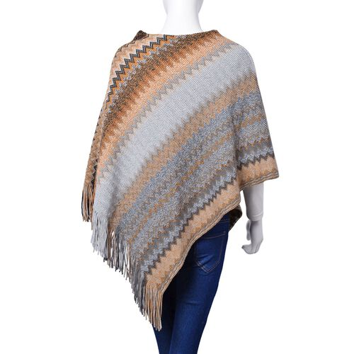 Designer Inspired-Grey, Brown and Multi Colour Zig Zag Pattern Poncho with Tassels (Free Size)