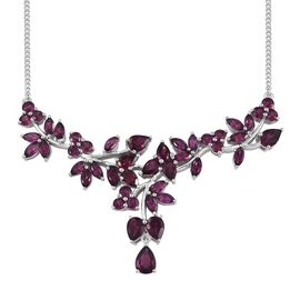 Designer Inspired Odisha Rhodolite Garnet Cocktail Necklace (Size 18) in Platinum Overlay Sterling Silver 17.000 Ct.