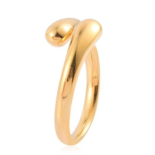 LucyQ Drip Crossover Ring in Yellow Gold Overlay Sterling Silver 5.43 Gms.