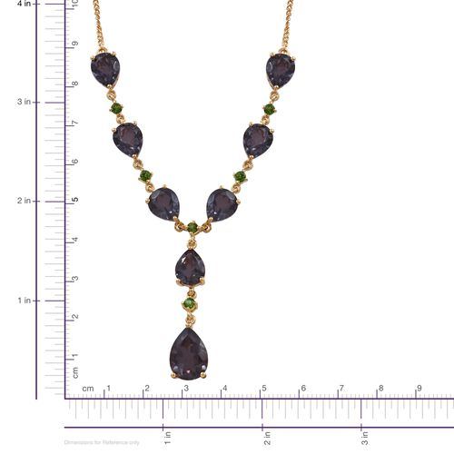 Alexandria Quartz (Pear 5.75 Ct), Russian Diopside Necklace (Size 18) in 14K Gold Overlay Sterling Silver 23.750 Ct.