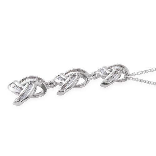 Diamond (Bgt) Triple Knot Pendant with Chain in Platinum Overlay Sterling Silver 0.330 Ct.