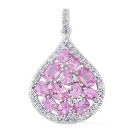 9K W Gold AAA Pink Sapphire (Ovl), Natural White Cambodian Zircon Pendant 4.750 Ct.