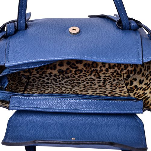 Set of 2 - Blue Colour Large and Small Handbag with Adjustable and Removable Shoulder Strap (Size 35x22x13 Cm , 20.5x14x7 Cm)