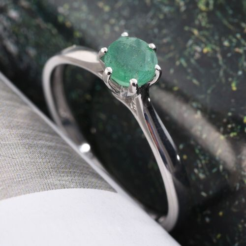 Zambian Emerald 0.50 Carat Silver Solitaire Ring in Platinum Overlay