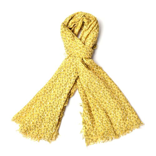 Floral Pattern Yellow Colour Scarf (Size 180x90 Cm)
