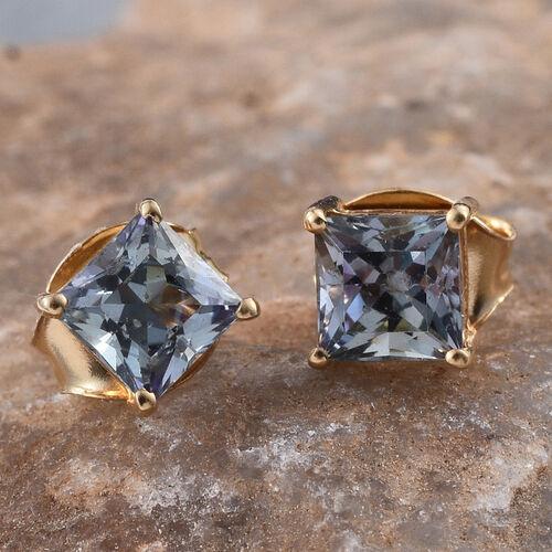 1 Carat Bondi Blue Tanzanite Square Solitaire Stud Silver Earrings in 14K Gold Overlay.